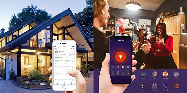 Pack x2 bombillas LED inteligente WiFi E27 multicolor Aoycocr en Amazon