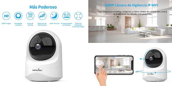cámara de vigilancia Wansview con detector de movimiento y visión nocturna chollo