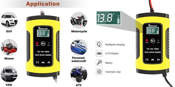 Cargador de Batería Nwouiiay de 12 V para coche chollo en Amazon