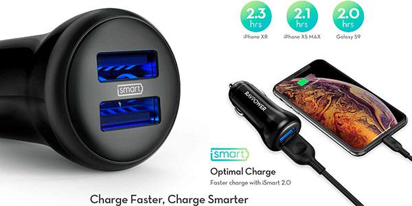 Cargador de coche Ravpower de 2 puertos USB de 24 W barato