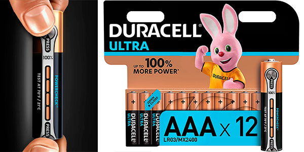 Chollo Pack de 12 pilas alcalinas Duracell Ultra AAA con Powerchek