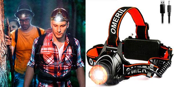 Chollo Linterna frontal LED Omeril con 2 baterías de 4.000 mAh