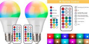 Chollo Pack x2 Bombillas LED de colores Omeril RGBW E27 10W con mando a distancia