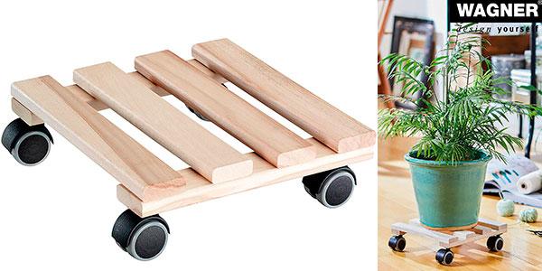 Chollo Soporte móvil de madera Plant Trolley Beech Nature para macetas