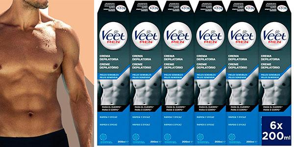 Chollo Pack de 6 botes de crema depilatoria corporal Veet for Men para hombre de 200 g