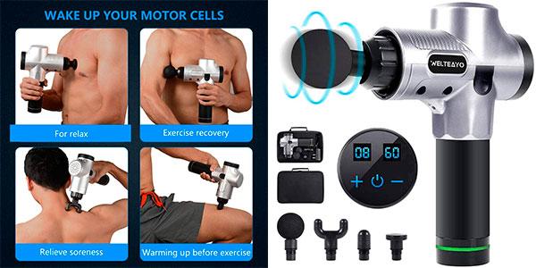 Chollo Pistola Yakuin de masaje muscular de 4 cabezales