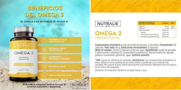 Complejo x60 Cápsulas Omega 3 Nutralie con Vitaminas D3 y E chollazo en Amazon