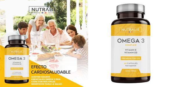 Complejo x60 Cápsulas Omega 3 Nutralie con Vitaminas D3 y E barato en Amazon