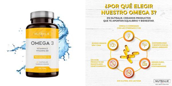 Complejo x60 Cápsulas Omega 3 Nutralie con Vitaminas D3 y E chollo en Amazon