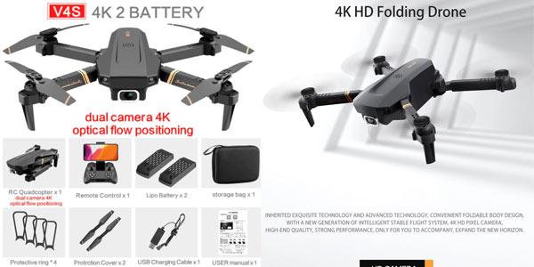 Dron V4 4K con accesorios y 2 baterías barato en Aliexpress