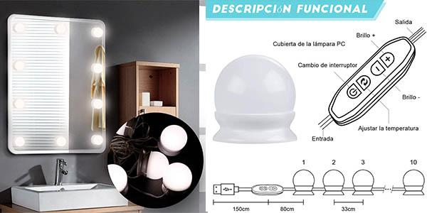 luces para espejo para maquillaje o funcion decorativa con luces LED Anpro oferta