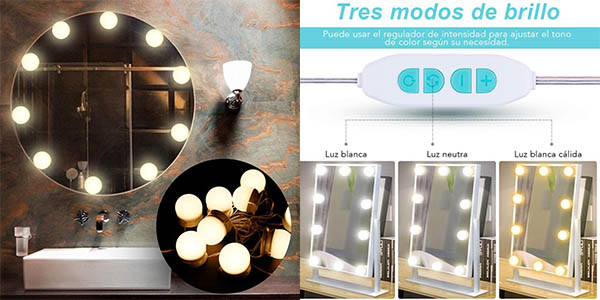 espejo de maquillaje con luces LED Anpro chollo