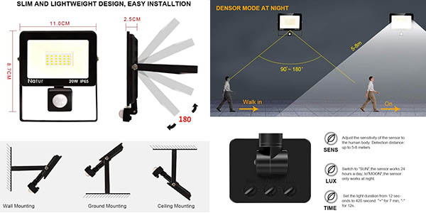 foco LED de exterior de 20W impermeable en oferta