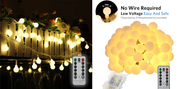 Guirnalda de 10 metros con 80 luces LED barata en Amazon