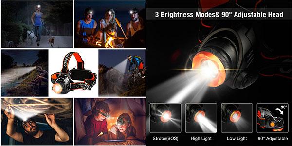 Linterna frontal LED Omeril con 2 baterías de 4.000 mAh barata