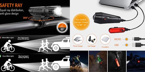 Luces LED recargables para bici Wotek baratas