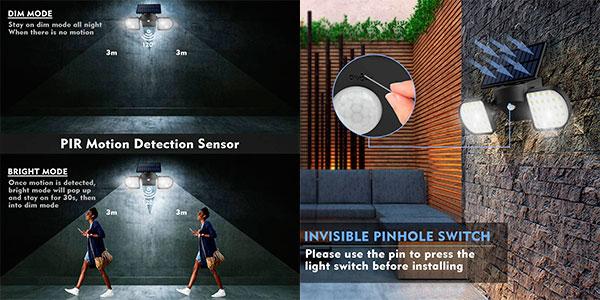 Luz solar exterior con sensor de movimiento barata