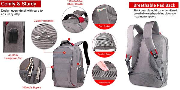 mochila compartimentada Rrtizan con puerto USB a precio de chollo