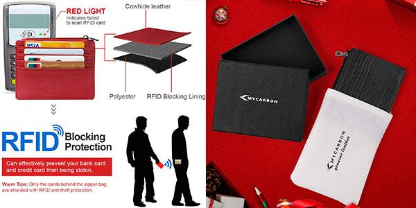 Cartera de cuero MyCarbon con seguridad RFID barata