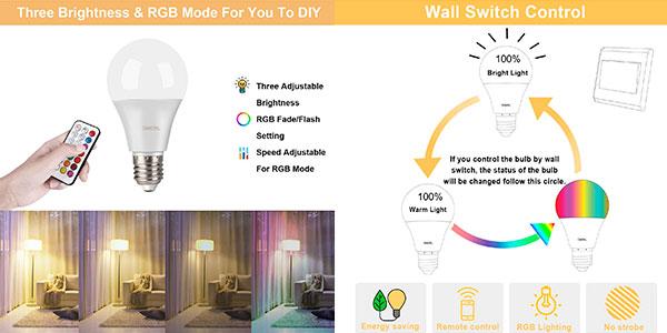 Pack x2 Bombillas LED de colores Omeril RGBW E27 10W con mando a distancia barato