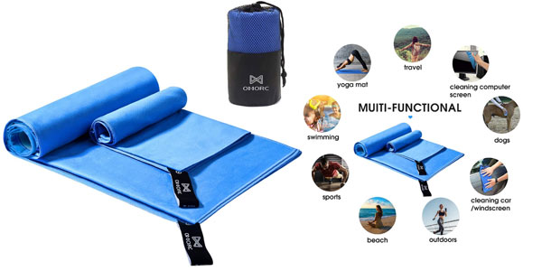 Pack 2 toallas microfibra Omorc baratas Amazon