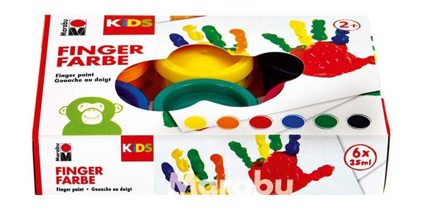 Pack de 6 botes Marabu Kids de pintura para dedos de 35 ml/ud chollo en Amazon