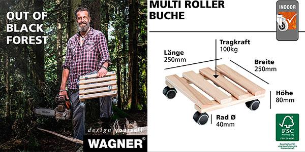 Soporte móvil de madera Plant Trolley Beech Nature para macetas barato