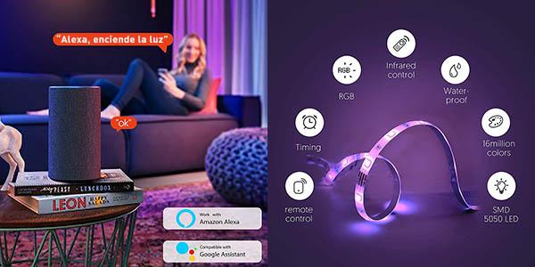 Tira LED Teckins RGB WiFi de 5m barato