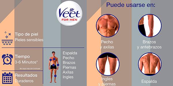 Pack de 6 botes de crema depilatoria corporal Veet for Men para hombre de 200 g barato