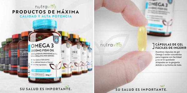 Envase 240 Cápsulas Omega 3 Nutravita de 2.000 mg chollazo en Amazon