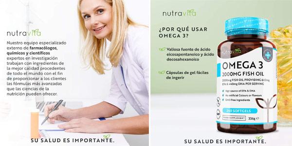 Envase 240 Cápsulas Omega 3 Nutravita de 2.000 mg chollo en Amazon