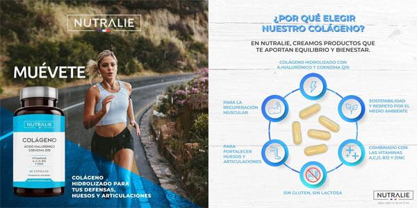 Envase 60 Cápsulas Nutralie Colágeno + Ácido Hialurónico + Coenzima Q10 + Vitaminas A, C, D y B12 + Zinc chollo en Amazon