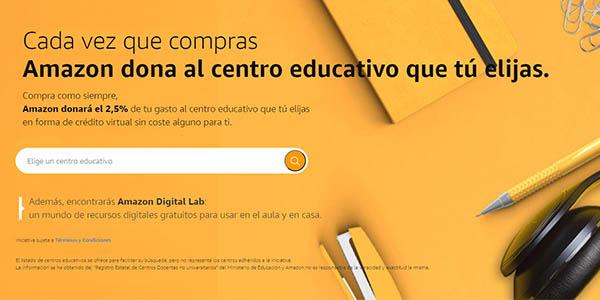 Amazon donación del 2,5% de tus compras para colegios de España