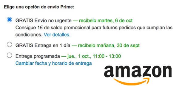 """Amazon Prime promoción """"Envío no urgente"""""""
