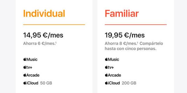 Apple One tarifas suscripción después de la prueba gratis