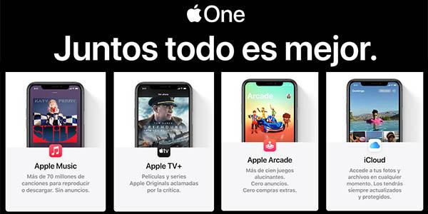 Apple One servicios integrados iCloud, Arcade, Music y TV+ prueba gratis