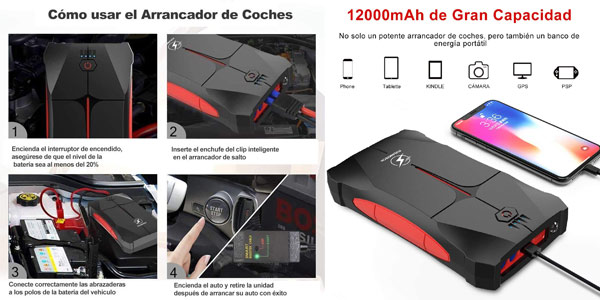 Arrancador de Coches Flynktech de 800A y 12000mAh chollo en Amazon