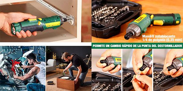 Atornillador eléctrico Teccpo de torsión ajustable USB con luz y 45 accesorios barato