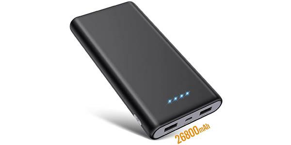 Batería externa Swey de 26800 mAh con 2 puertos USB