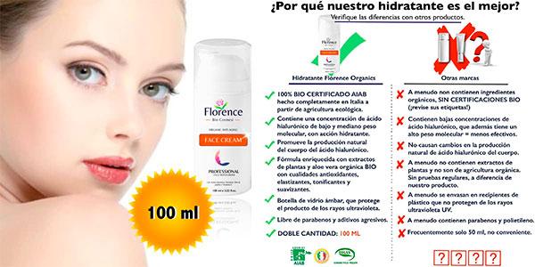 Bio crema hidratante facial Florence con ácido hialurónico de 100 ml barata
