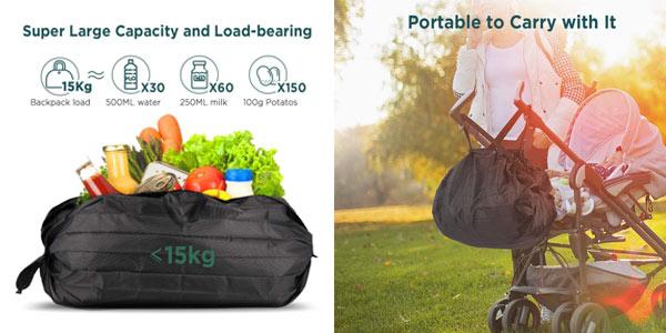 Bolsa de compra Plegable Lavable Grande EasyAcc oferta en Amazon
