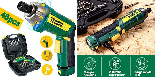 Chollo Atornillador eléctrico Teccpo de torsión ajustable USB con luz y 45 accesorios