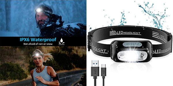 Chollo Linterna frontal LED Cocoda USB recargable con 4 modos