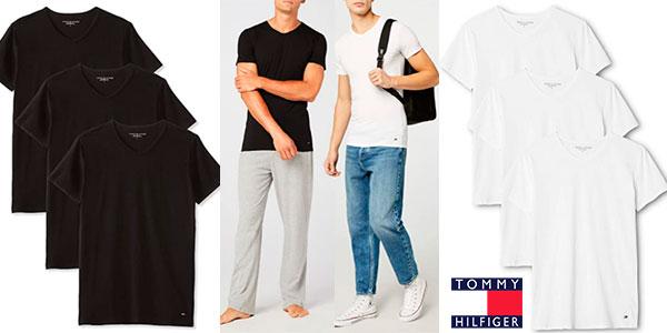 Chollo Pack de 3 camisetas Tommy Hilfiger con cuello de pico para hombre