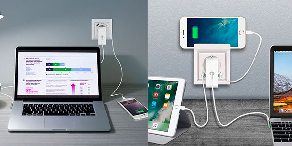 Enchufe empotrado con 2 puertos USB barato