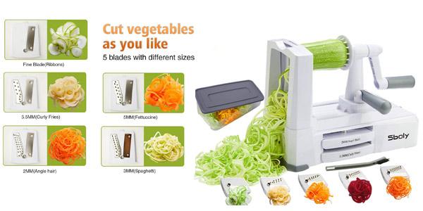 Espiralizador de verduras con 5 cuchillas Sboly barato en Amazon