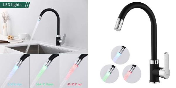 Grifo monomando de cocina 360° AiHom con luz LED según temperatura barato en Amazon