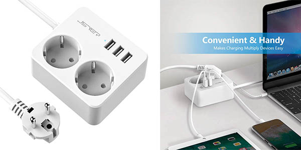 Jsver enchufe cargador alargador con 3 puertos USB chollo