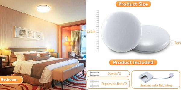 Lámpara de techo LED Elfeland IP54 de 24W, 2.200LM y 3.000K chollo en Amazon
