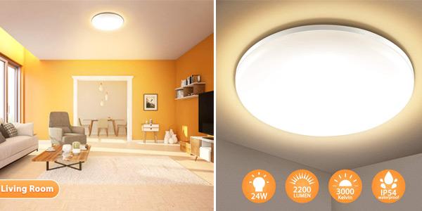 Lámpara de techo LED Elfeland IP54 de 24W, 2.200LM y 3.000K barata en Amazon